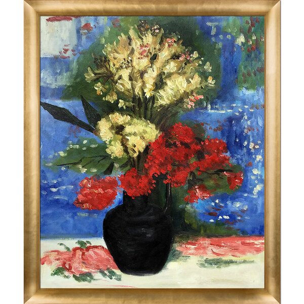 Tori Home Vase With Carnations And Other Flowers By Vincent Van