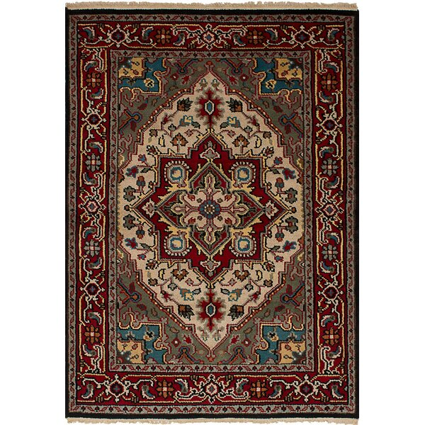 One-of-a-Kind Larsen Oriental Hand-Knotted Wool Red Area Rug by Bloomsbury Market