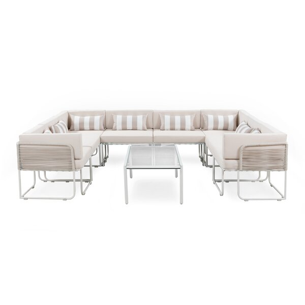 SkeltinCleveland Outdoor 9 Piece Sectional Seating Group with Cushions by Freeport Park