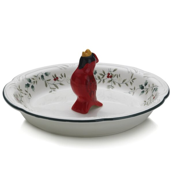 Winterberry Bird Pie Plate by Pfaltzgraff