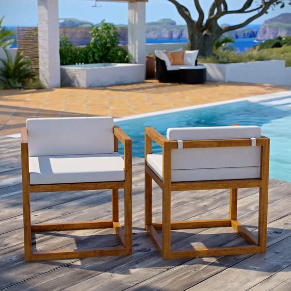 Ringler Premium Grade A Teak Patio Chair with Cushions (Set of 2) by Highland Dunes