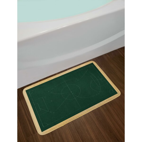 Tactic Diagram with Pass and Goal Arrangement Attacking Defending Chalkboard Bath Rug by East Urban Home