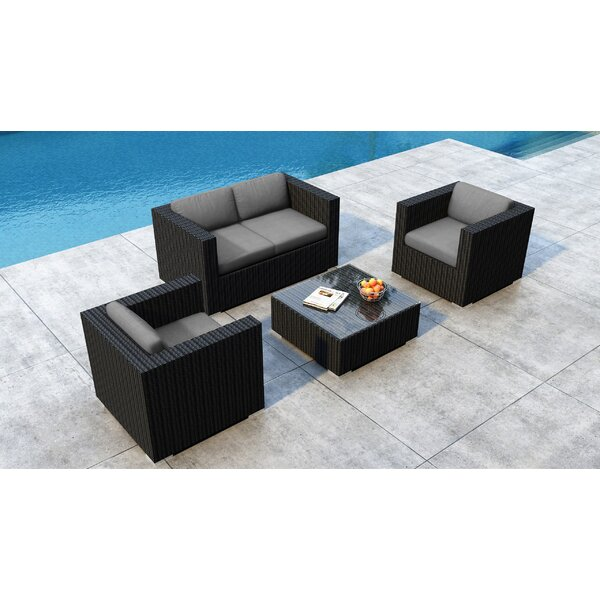 Glendale 4 Piece Rattan Sofa Seating Group with Sunbrella Cushions by Everly Quinn