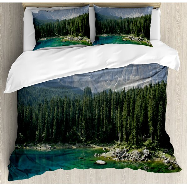 Nature Aerial View of Pine Forest by the Lake beneath Mountain Pastoral Landscape Duvet Set by Ambesonne