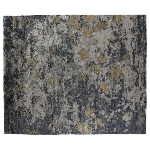 Abstract Expressions Hand-Knotted Silk Dark Gray/Black Area Rug by Exquisite Rugs