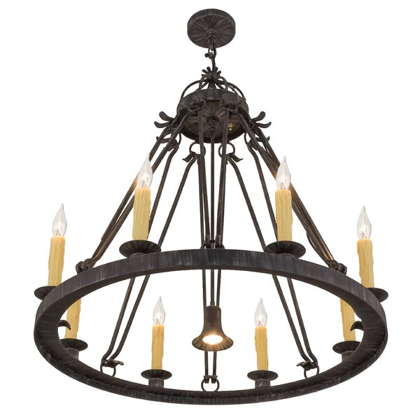 Winchelsea 9 - Light Candle Style Wagon Wheel Chandelier by Astoria Grand Astoria Grand