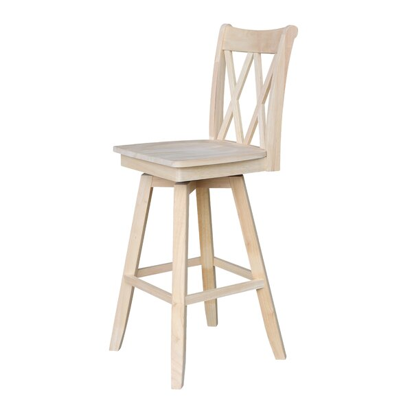 Wembley Unfinished 30 Swivel Bar Stool by Beachcrest Home