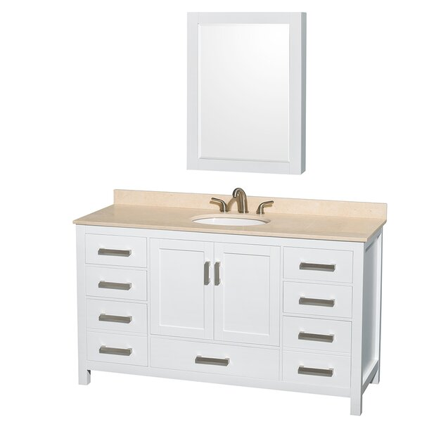 Sheffield 60 Single White Bathroom Vanity Set with Medicine Cabinet by Wyndham Collection