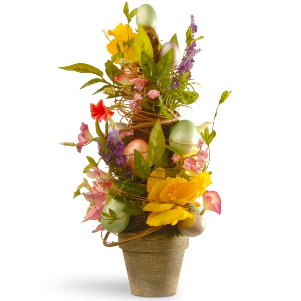 Floral Easter Topiary with Tulips and Egg by Natio