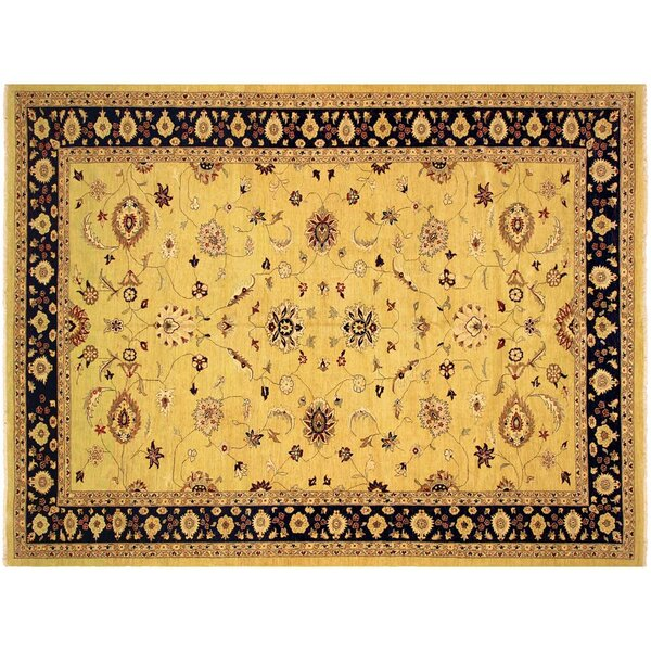 Xenos Hand-Knotted Wool Gold/Blue Area Rug by Astoria Grand