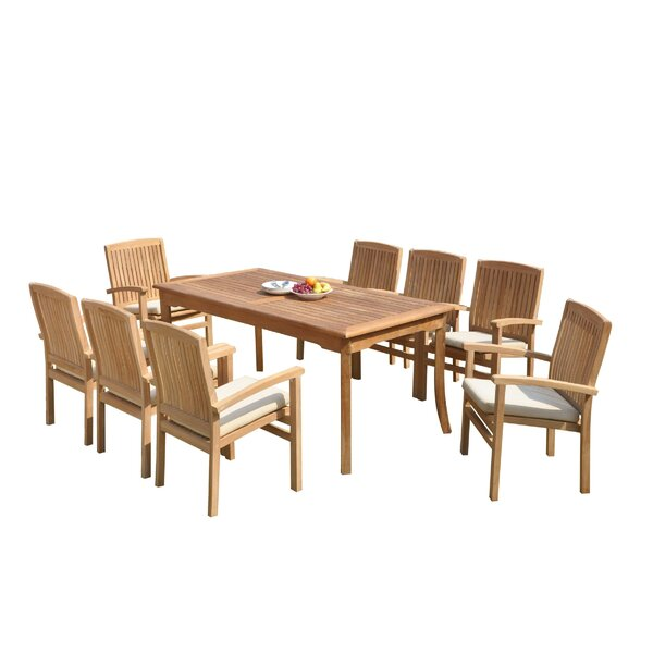 Masuda 9 Piece Teak Dining Set by Rosecliff Heights