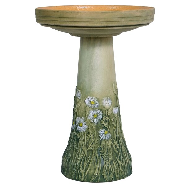 Burley Flowering Daisy Clay Birdbath by Birds Choice
