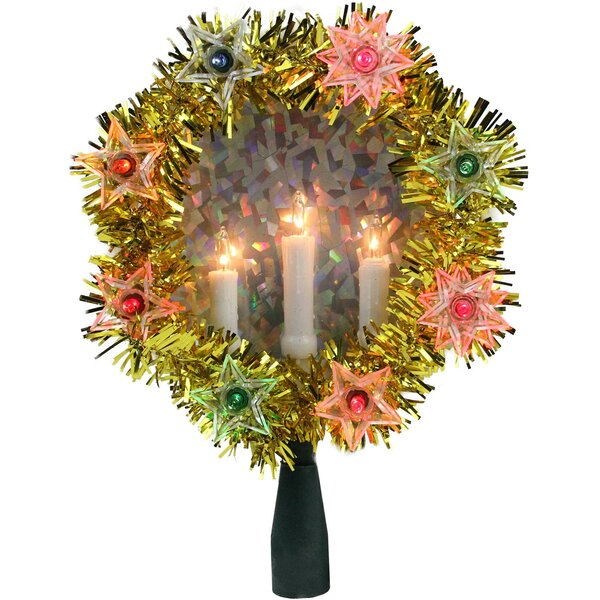 Tinsel Wreath with Candles Christmas Tree Topper by The Holiday Aisle