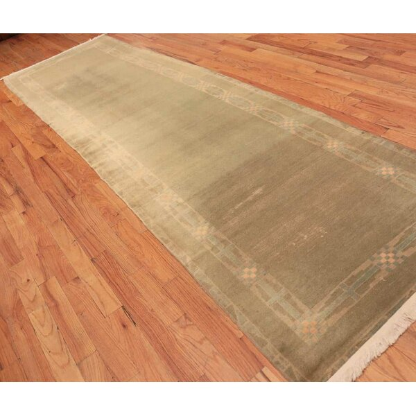 One-of-a-Kind Hand-Knotted 1930s Art Deco Green 3'11 x 14'8 Runner Wool Area Rug