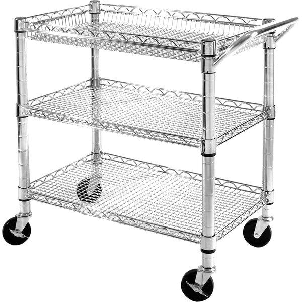 UltraZinc 3 Shelf NSF Commercial Steel Wire Utility Cart by Seville Classics