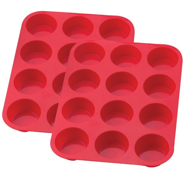 12 Cup Non-Stick Silicone Muffin and Cupcake Baking Pan (Set of 2) by Sorbus