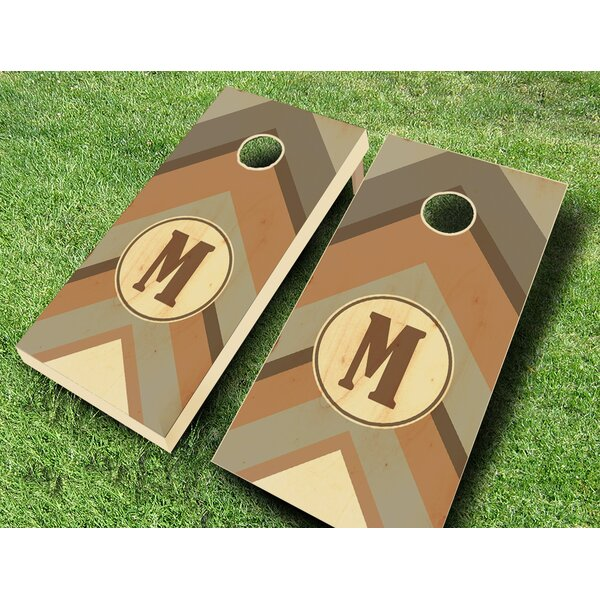 Warm Chevron Monogram Stained Cornhole Set by AJJ Cornhole