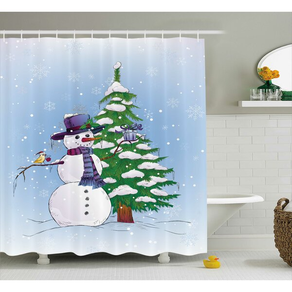 Christmas Snowman and Tree Shower Curtain by The Holiday Aisle