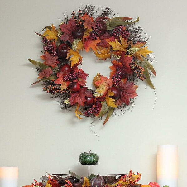 Autumn Harvest Thanksgiving 22 Apple/Berry and Leaf Artificial Floral Wreath by Charlton Home