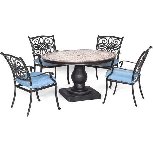 Poteet 5 Piece Dining Set with Cushions by Fleur De Lis Living