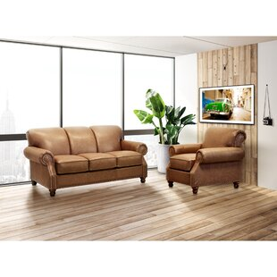 Aroush 2 Pieces Top Grain Leather Sofa And Chair Set by Canora Grey
