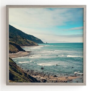 California Pacific Coast Highway Wooden Framed Photographic Print by Wrought Studio