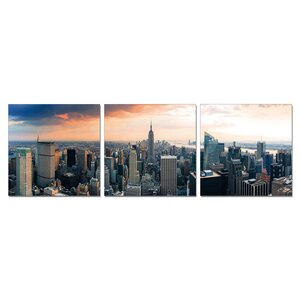 Empire State City Wiew Wall Mounted Triptych 3 Piece Photographic Print Set by Ebern Designs