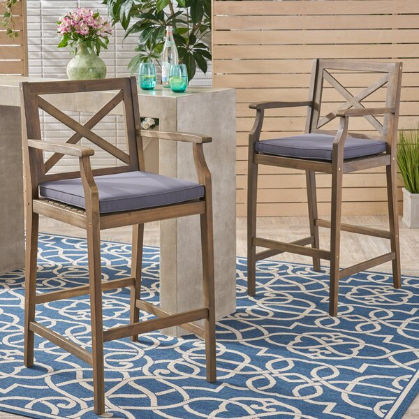 Hudock 45.75 Teak Patio Bar Stool with Cushion (Set of 2) by Alcott Hill