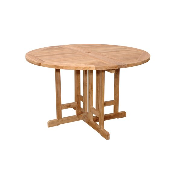 Farnam Folding Teak Dining Table by Rosecliff Heights