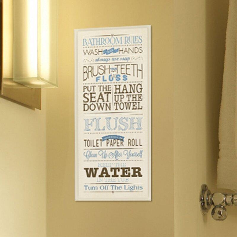 Andover Mills \'Bathroom Rules\' Textual Art on Wood & Reviews   Wayfair