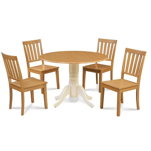 Abner 5 Piece Drop Leaf Solid Wood Dining Set by Millwood Pines