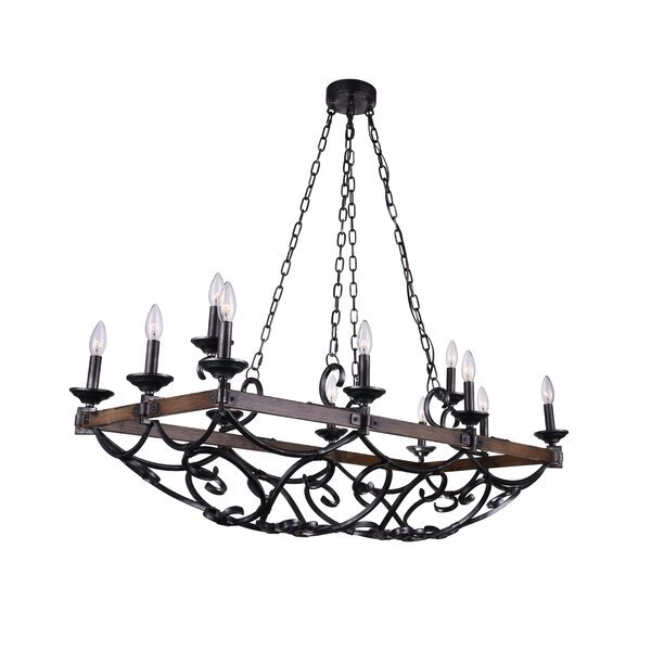 Hickson 12 - Light Candle Style Rectangle / Square Chandelier by Fleur De Lis Living Fleur De Lis Living