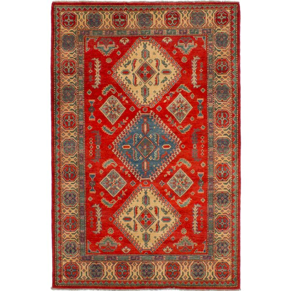 One-of-a-Kind Noriko Hand-Knotted Wool Red/Ivory Area Rug by Isabelline