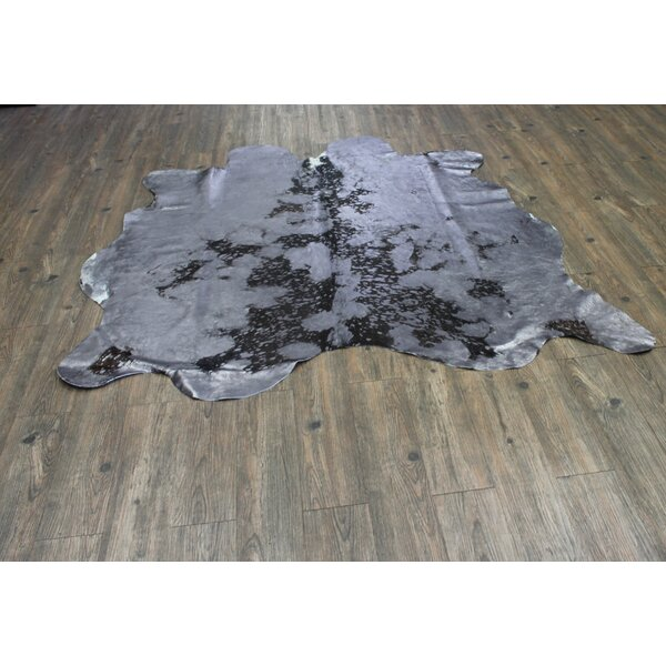 One-of-a-Kind Papadopoulos Hand-Woven Cowhide Gray Indoor Area Rug by Union Rustic