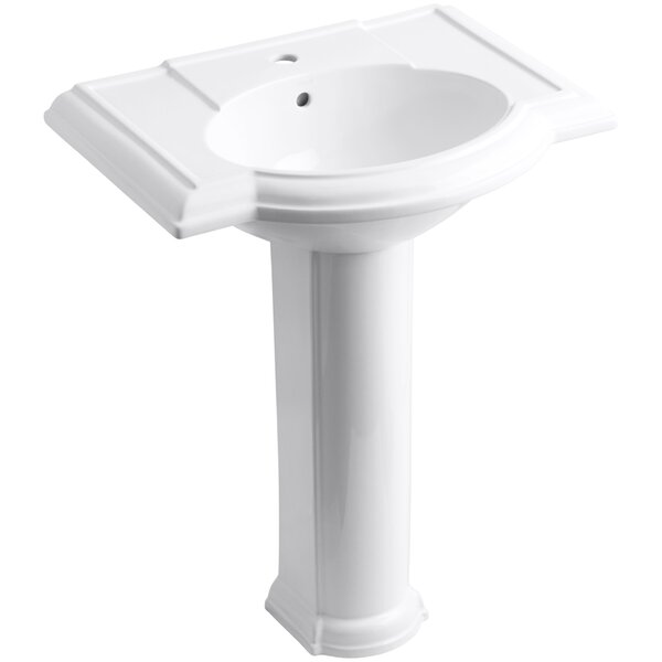 Devonshire® Ceramic 28 Pedestal Bathroom Sink with Overflow by Kohler