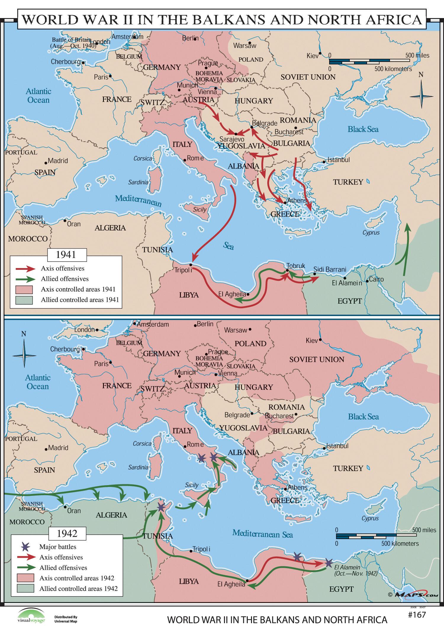 Universal map world history wall maps world war ii in balkans universal map world history wall maps world war ii in balkans north africa reviews wayfair gumiabroncs Image collections