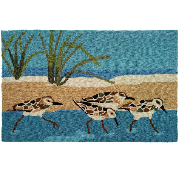 Cockerham Oceanside Sandpipers Area Rug by Highland Dunes