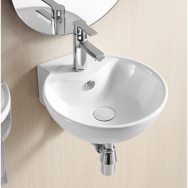 Ceramic 16 Wall Mount Bathroom Sink with Overflow by Caracalla