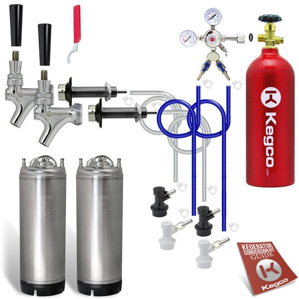 Two Faucet Door Mount Homebrew Kegerator Kit - Two Ball Lock Kegs & 5 lb. CO2 Tank by Kegco