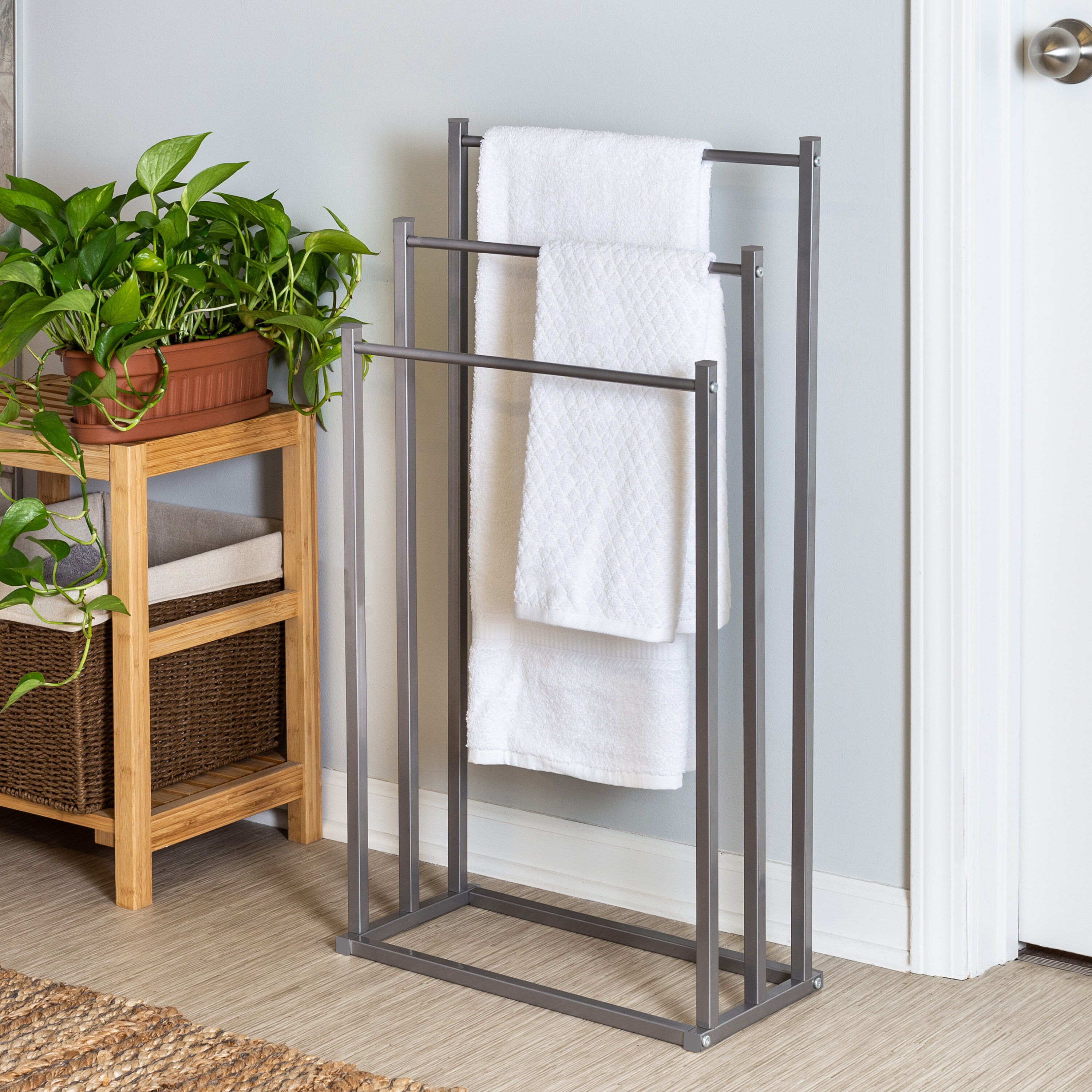 This Excellent Three Tier Towel Holder Would Be Perfect For Your Bathroom Made From High Quality Rubber Wood That Makes It Strong And Long Lasting