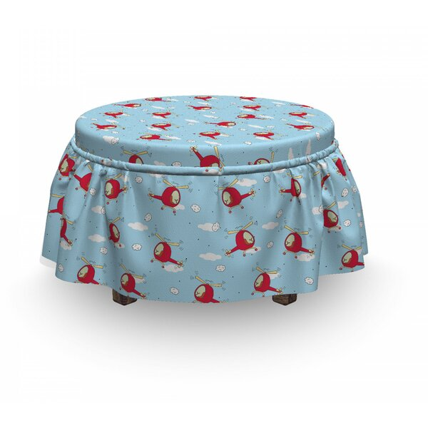 Helicopters In Sky Ottoman Slipcover (Set Of 2) By East Urban Home