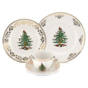 christmas tree gold 4 piece place setting service for 1 - Cheap Christmas Dinnerware Sets