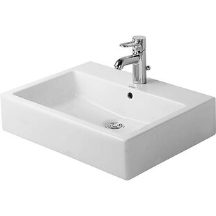 Read Reviews Vero Ceramic Rectangular Vessel Bathroom Sink with Overflow By Duravit
