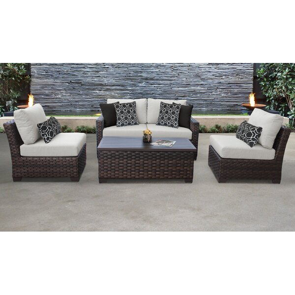 kathy ireland Homes & Gardens River Brook 5 Piece Outdoor Wicker Patio Furniture Set 05d by kathy ireland Homes & Gardens by TK Classics