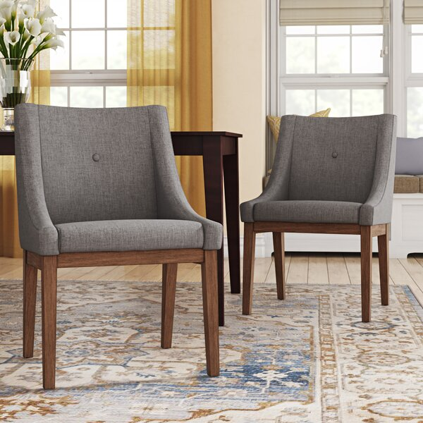 Tamarack Linen Upholstery Dining Chair (Set of 2) by Three Posts