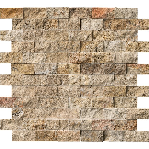Tuscany Scabas 2 x 4 Travertine Splitface Tile in Gold by MSI