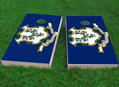 Connecticut State Flag Cornhole Game (Set of 2) by Custom Cornhole Boards