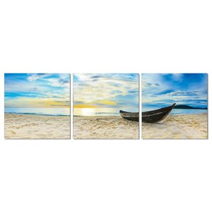 Fishing at Sunset 3 Piece Photographic Print Wrapped Canvas Set by Furinno