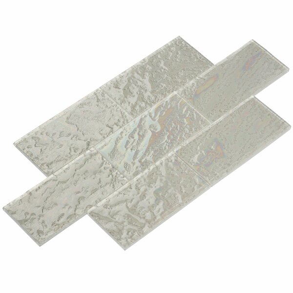3 x 6 Glass Subway Tile in Bright White-Ice by Giorbello