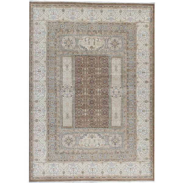 One-of-a-Kind Brookhaven Hand-Knotted Ivory 9'11 x 14'1 Area Rug